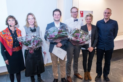 DSEB's Chairman Birgit Aagaard-Svendsen, the three winners of the DSEB Education Prize, Shannon Hessel, Attila Marton and Jacob Lyngsie, and last years winners, Thyra Uth Thomsen and Ulf Nielsson. Photograph by: Jørn Albertus